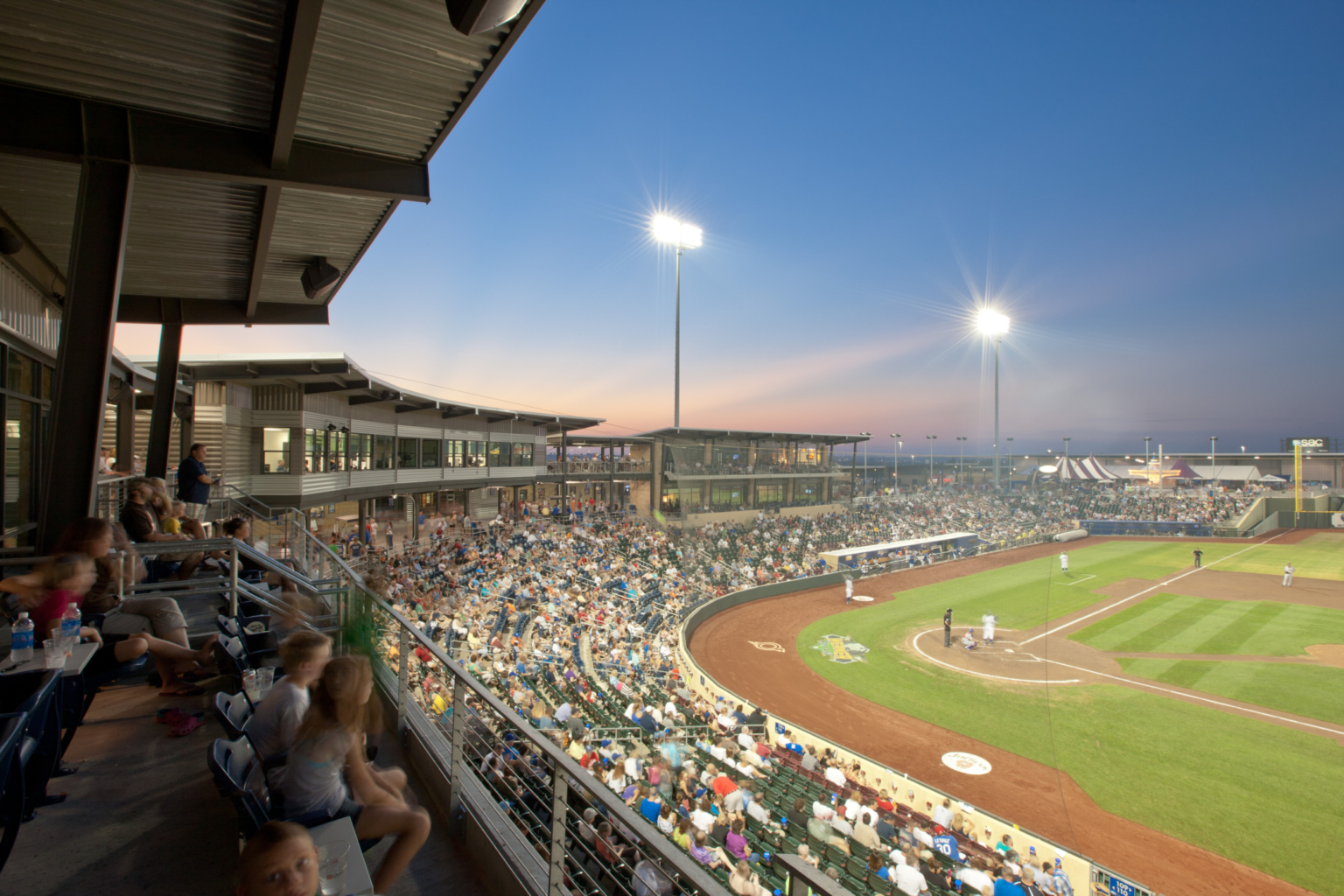 View from upper deck on third base side at Werner Park