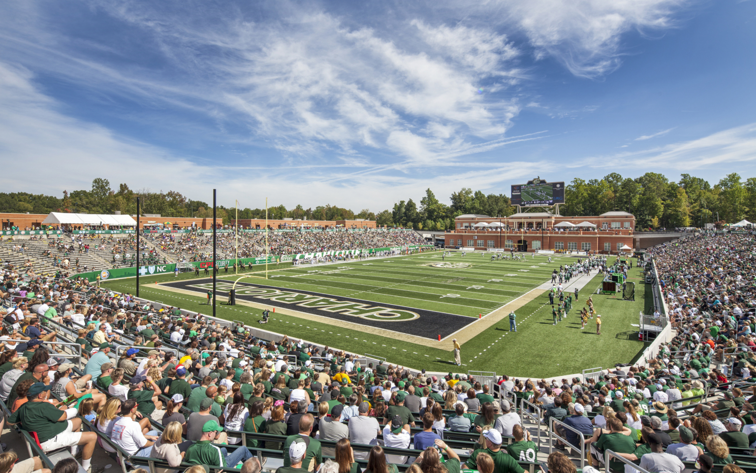 View of field from corner at Jerry Richardson Stadium