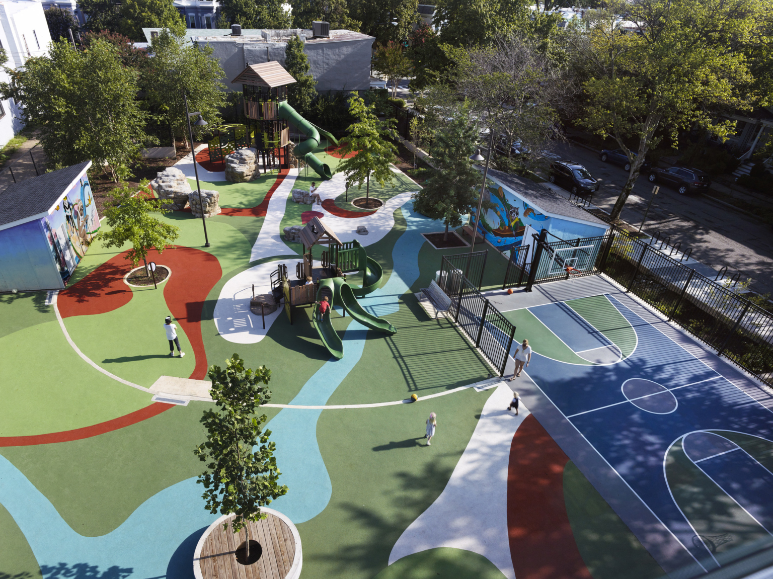 Aerial view of playground and outdoor areas at Maury Elementary School.